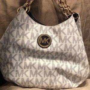 Navy/white Michael Kors handbag gold hardware